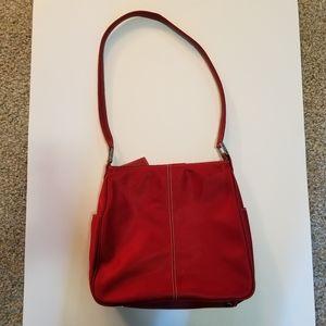 Fossil Purse Handbag Shoulder Bag Red Canvas Zip